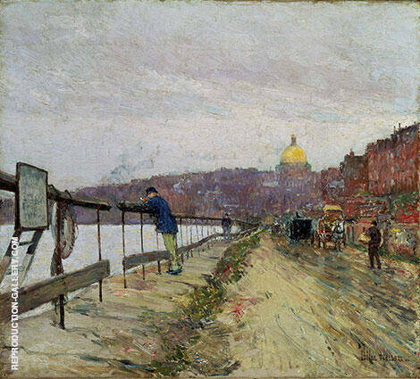 Reproduction of Charles River and Beacon Hill 1892 by Childe Hassam | Oil Painting Replica On CanvasReproduction Gallery