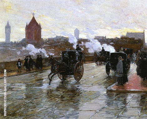 Clearing Sunset Corner of Berkeley Street and Columbus Avenue 1890 By Childe Hassam