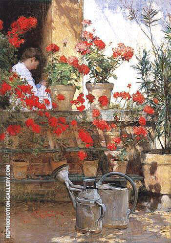 Geraniums 1888 By Childe Hassam - Oil Paintings & Art Reproductions - Reproduction Gallery