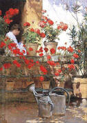 Geraniums 1888 By Childe Hassam