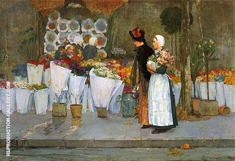At the Florist 1889 By Childe Hassam - Oil Paintings & Art Reproductions - Reproduction Gallery