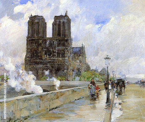 Notre Dame Cathedral Paris 1888 By Childe Hassam Replica Paintings on Canvas - Reproduction Gallery