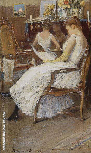 Mrs Hassam and Her Sister 1889 By Childe Hassam - Oil Paintings & Art Reproductions - Reproduction Gallery