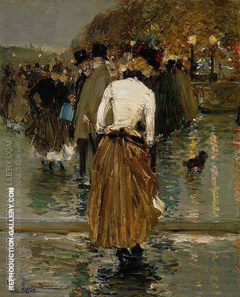 Promenade at Sunset Paris 1888 By Childe Hassam - Oil Paintings & Art Reproductions - Reproduction Gallery
