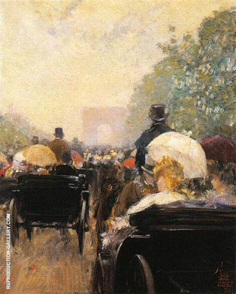 Carriage Parade 1888 By Childe Hassam - Oil Paintings & Art Reproductions - Reproduction Gallery