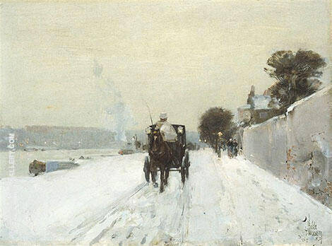 Along the Seine Winter 1887 By Childe Hassam - Oil Paintings & Art Reproductions - Reproduction Gallery
