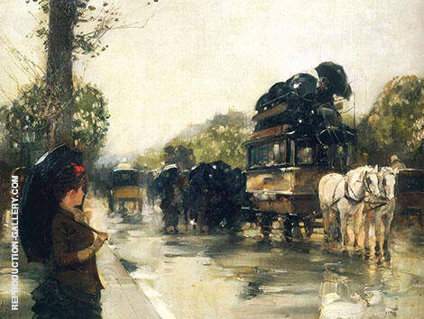April Showers Champs Elysees Paris 1888 By Childe Hassam - Oil Paintings & Art Reproductions - Reproduction Gallery
