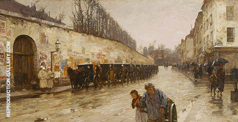 Une Averse rue Bonaparte 1887 By Childe Hassam - Oil Paintings & Art Reproductions - Reproduction Gallery