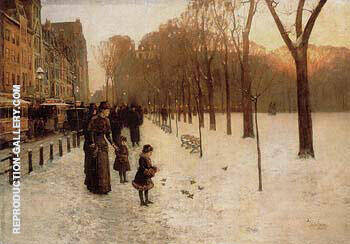 Boston Common at Twilight 1885 By Childe Hassam - Oil Paintings & Art Reproductions - Reproduction Gallery