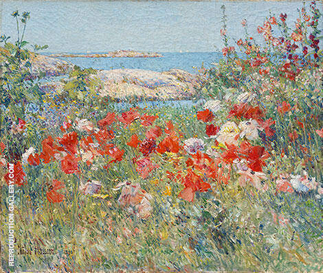 Celia Thaxter's Garden, Isles of Shoals, Maine By Childe Hassam - Oil Paintings & Art Reproductions - Reproduction Gallery