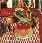 Basket and Plate of Fruit on a Red-checkered Tablecloth 1938 By Pierre Bonnard