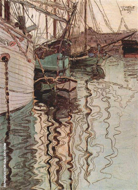 Harbour of Trieste 1907 By Egon Schiele - Oil Paintings & Art Reproductions - Reproduction Gallery