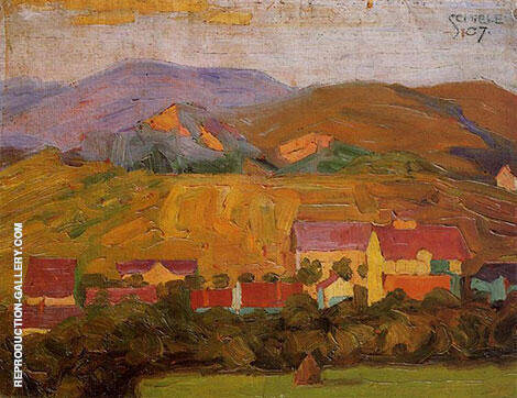 Village with Mountains 1907 By Egon Schiele