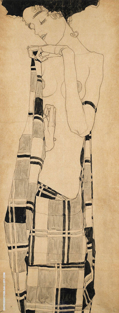 Standing Girl in Plaid Garment 1908/09 By Egon Schiele