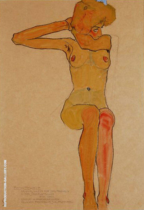Seated Female Nude with Raised Right Arm. 1910 By Egon Schiele Replica Paintings on Canvas - Reproduction Gallery