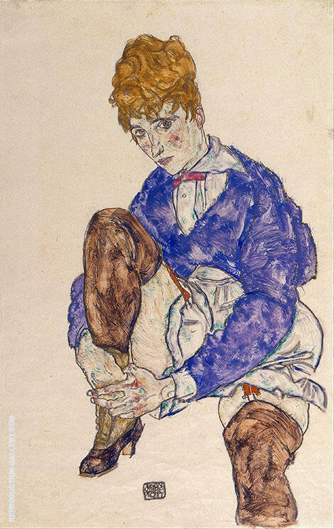 Portrait of the Artist's Wife, 1917 By Egon Schiele - Oil Paintings & Art Reproductions - Reproduction Gallery