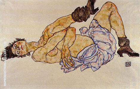 Reclining Female Nude, 1914 By Egon Schiele - Oil Paintings & Art Reproductions - Reproduction Gallery