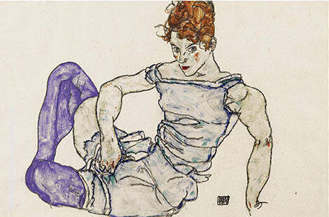 Seated Woman in Violet Stockings, 1917 By Egon Schiele