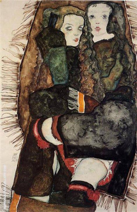 Two Girls on Fringed Blanket, 1911 By Egon Schiele