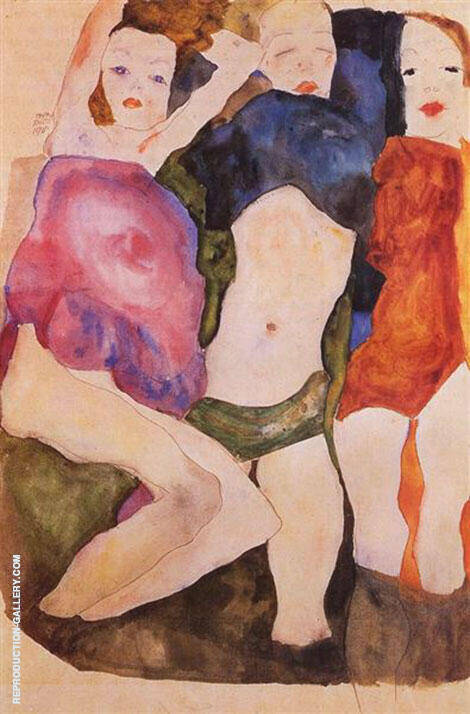 Three Girls, 1911 Painting By Egon Schiele - Reproduction Gallery