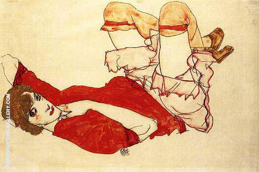 Wally in Red Blouse with Raised Knees 1913 Painting By Egon Schiele