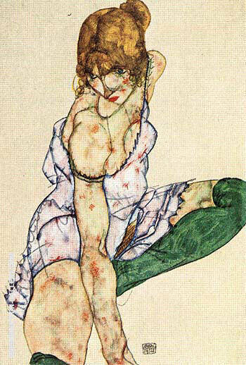 Blonde Girl in Green Stockings, 1914 By Egon Schiele - Oil Paintings & Art Reproductions - Reproduction Gallery