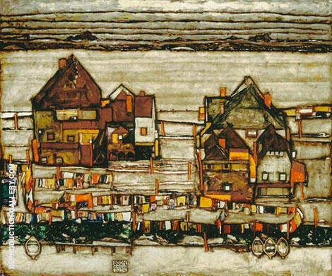 Houses with Laundry (Suburb II) 1914 By Egon Schiele Replica Paintings on Canvas - Reproduction Gallery