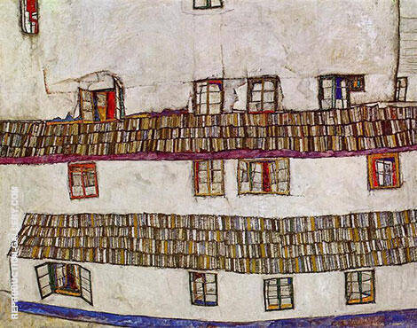 Facade of a House (Windows) 1914 By Egon Schiele Replica Paintings on Canvas - Reproduction Gallery