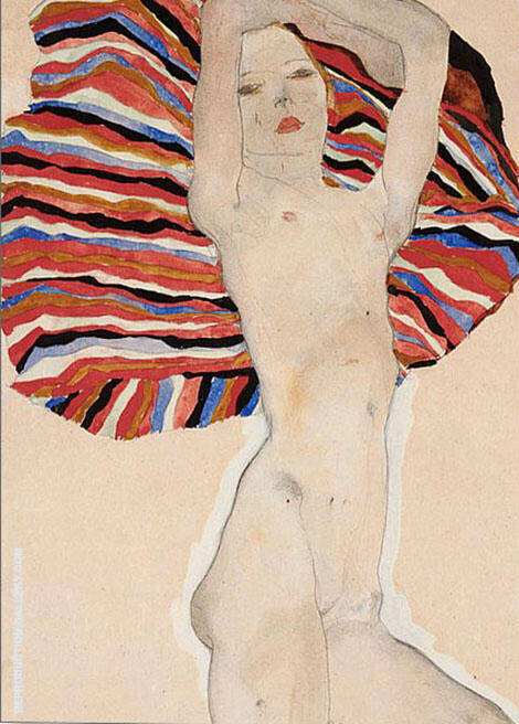 Nude on Coloured Fabric, 1911 Painting By Egon Schiele