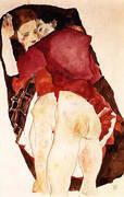 Two Girls Lovers 1911 By Egon Schiele