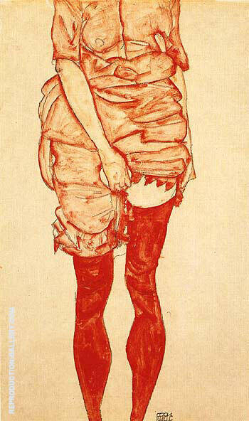 Standing Woman in Red, 1913 By Egon Schiele Replica Paintings on Canvas - Reproduction Gallery