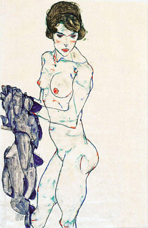 Standing Female Nude with Blue Cloth, 1914 Painting By Egon Schiele