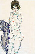Standing Female Nude with Blue Cloth, 1914 By Egon Schiele