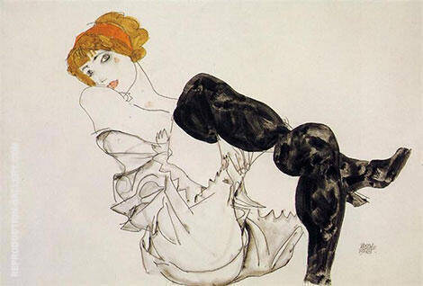 Woman in Black Stockings, 1913 By Egon Schiele - Oil Paintings & Art Reproductions - Reproduction Gallery