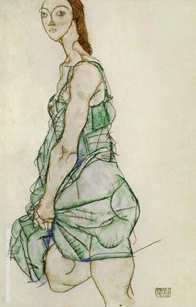 Standing Woman in Green Shirt, 1914 By Egon Schiele Replica Paintings on Canvas - Reproduction Gallery
