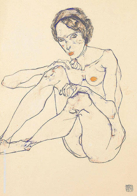 Reproduction of Nude Woman 1914 by Egon Schiele | Oil Painting Replica On CanvasReproduction Gallery