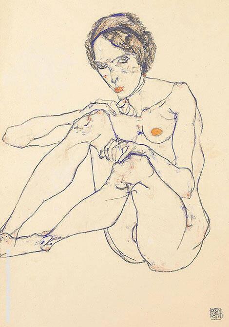 Nude Woman 1914 By Egon Schiele