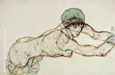 Reclining Female with Green Cap, Leaning to the Right, 1914 By Egon Schiele - Oil Paintings & Art Reproductions - Reproduction Gallery