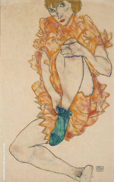 The Green Stocking, 1914 Painting By Egon Schiele - Reproduction Gallery