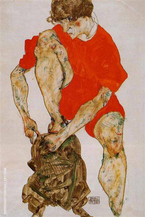 Female Model in Bright Red Jacket and Pants, 1914 By Egon Schiele