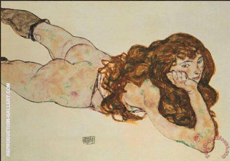 Nude on Her Stomach, 1917 Painting By Egon Schiele - Reproduction Gallery