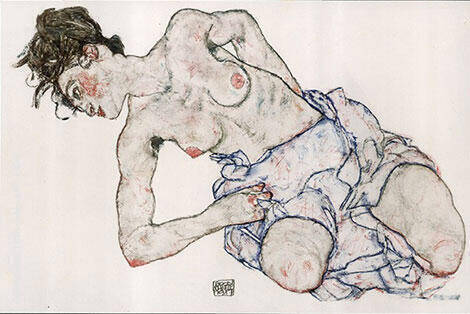 Kneeling Female Semi-Nude, 1917 Painting By Egon Schiele