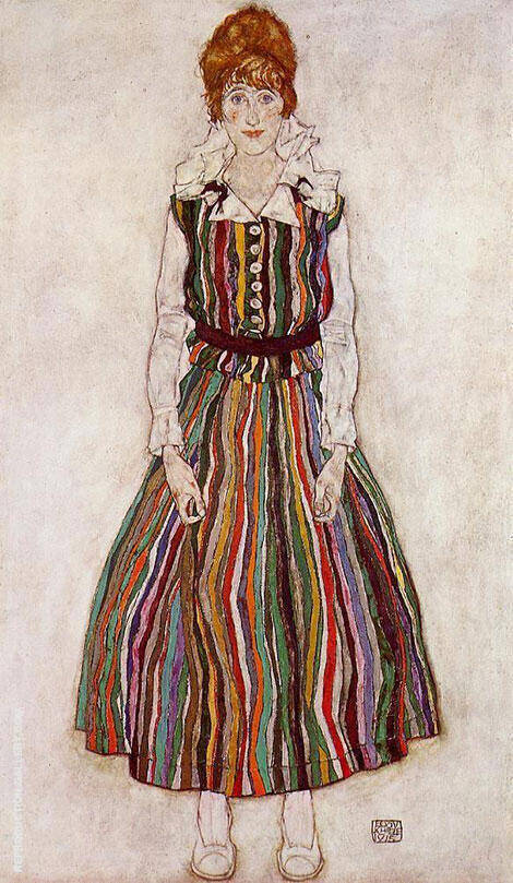 Portrait of the Artist's Wife, Standing (Edith Schiele in Striped Dress) 1915 By Egon Schiele