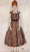 Portrait of the Artist's Wife, Standing (Edith Schiele in Striped Dress) 1915 By Egon Schiele