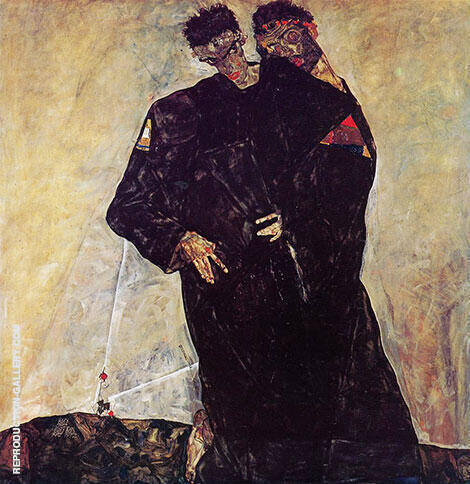 The Hermits,1912 Painting By Egon Schiele - Reproduction Gallery