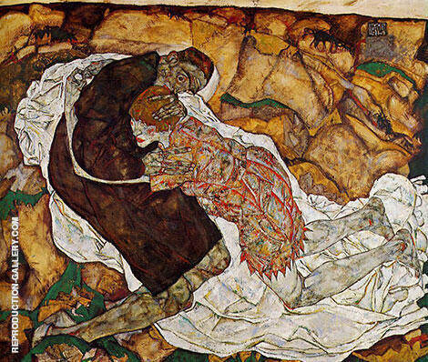 Death and Maiden Man and Girl Painting By Egon Schiele