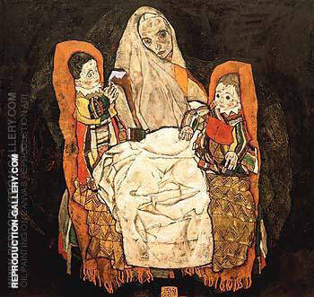 Mother with Two Children III 1917 By Egon Schiele - Oil Paintings & Art Reproductions - Reproduction Gallery