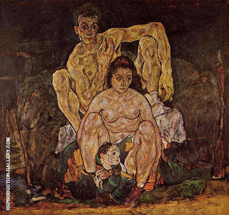 The Family (Squatting Couple) 1918 By Egon Schiele - Oil Paintings & Art Reproductions - Reproduction Gallery