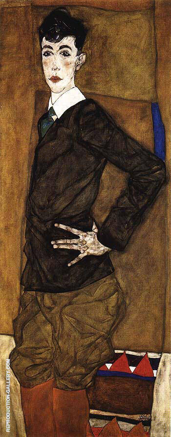 Portrait of Erich Lederer, 1912 By Egon Schiele - Oil Paintings & Art Reproductions - Reproduction Gallery