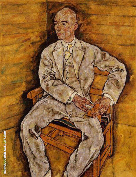 Portrait of Victor Ritter von Bauer 1918 By Egon Schiele Replica Paintings on Canvas - Reproduction Gallery